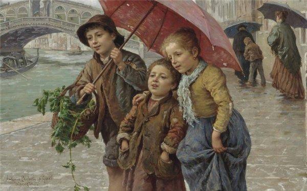 Antonio Ermolao Paoletti (1834-1912) ~ Plimbare lângă podul Rialto