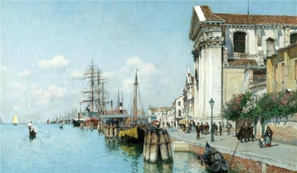 Federico del Campo, pictor peruvian (1837-1923) – View of the Grand Canal of Venice