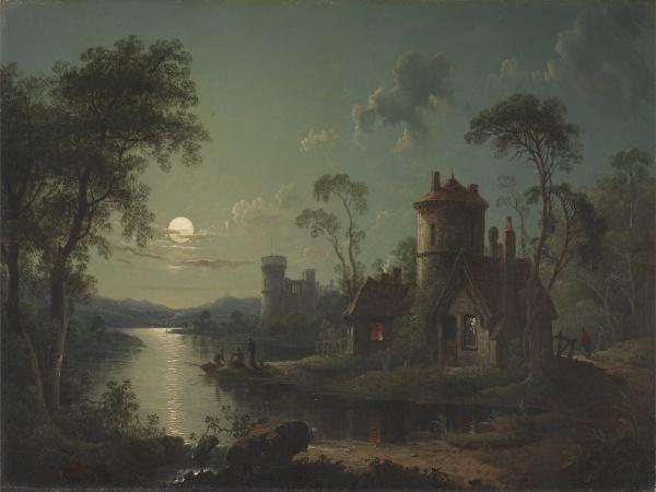 Sebastian Pether, pictor englez (1790-1844) ~ Moonlit river