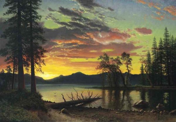 Albert Bierstadt, pictor germano - american (1830 -1902)~ Twilight, Lake Tahoe