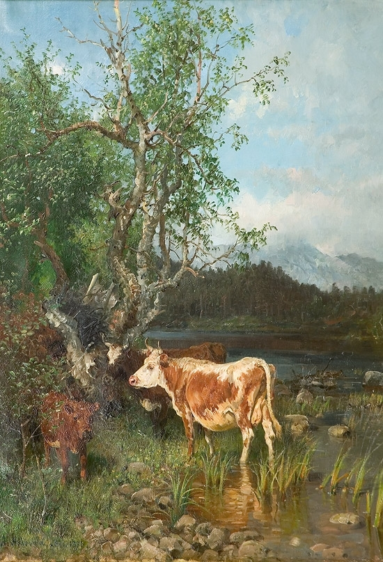 Anders Monsen Askevold, pictor norvegian (1834 - 1900) ~ Cows by the Watering Place