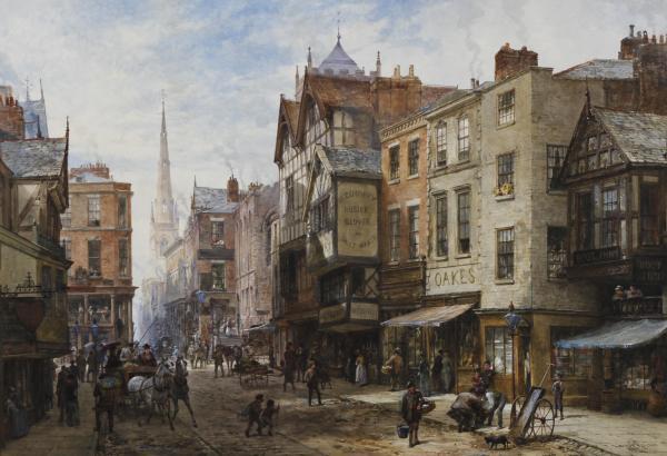 Louise Rayner, pictor englez, acuarelă şi guașă (1832–1924) ~ Chester The Cross looking towards Watergate Street